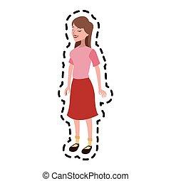 pretty brunette woman icon image