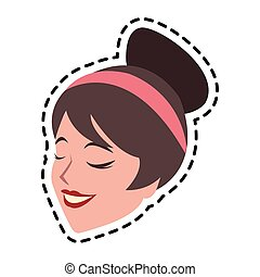 pretty brunette woman icon image