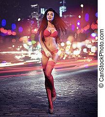Pretty brunette woman wearing sensual underwear