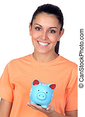 Pretty brunette woman with a piggy-bank