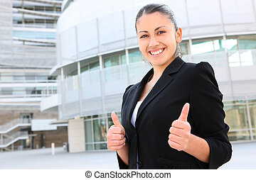 Pretty Business Woman at Office Building