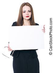 Pretty business woman holding a blank sign