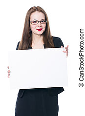 Pretty business woman in glasses holding a blank sign