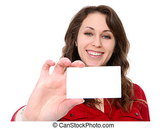 Pretty young business woman holding her card isolated over white