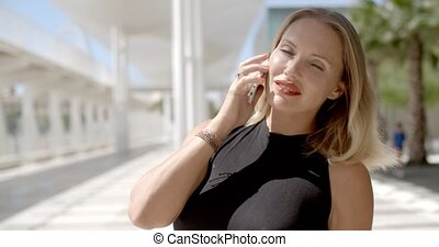 Pretty Business Woman Using Cell Phone