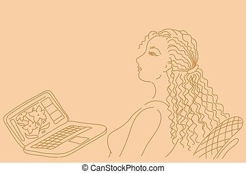 Pretty business woman working on laptop computer