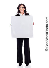 business womanholding a white blank board