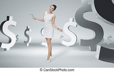 Pretty businesswoman among dollar signs