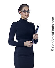 pretty businesswoman holding files
