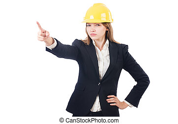 Pretty businesswoman with hard hat pressing virtual buttons isolated on white