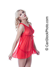 Pretty busty blonde posing in red underwear