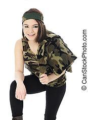 Pretty Camo Girl - A beautiful teen girl leaning forward in...