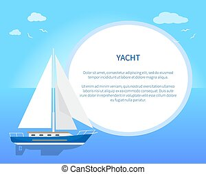 Pretty Card with Yacht, Color Vector Illustration