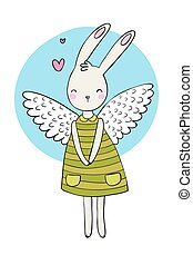 Pretty cartoon bunny girl in a dress. Rabbit with wings.