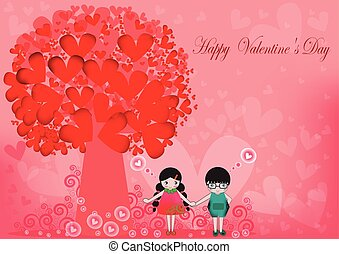 Pretty Cartoon Couple Stock Vector,Vector illustration of Valentine card ,flat design,Valentine Day,Tree with heart-shaped red couple,group,set