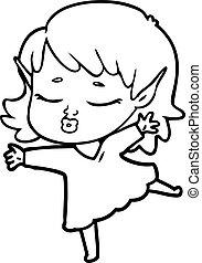 pretty cartoon elf girl dancing