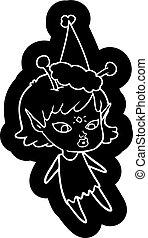 pretty cartoon icon of a alien girl wearing santa hat