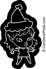 pretty cartoon icon of a elf girl wearing santa hat