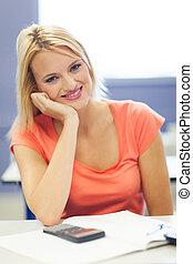 caucasian female college student