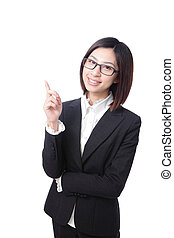 business woman pointing at something in the air