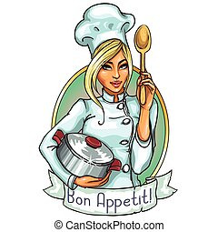 Pretty Chef with pot and spoon. Label with ribbon banner and...