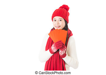 pretty chinese young woman holding red lucky money