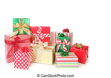 Christmas Gifts Wrapped up on White Background With Copy Space