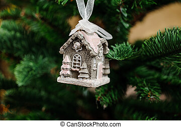 Pretty Christmas tree decoration toy in the form of little house