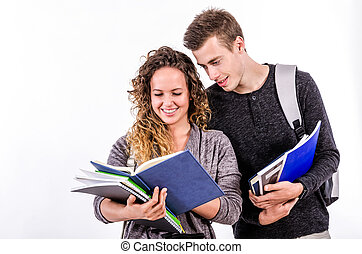 Pretty College Student Couple Readi