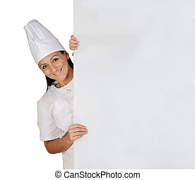 Pretty cook girl with uniform isolated on white background