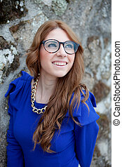 Pretty cool woman with big glasses