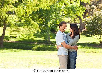 Pretty couple in the park