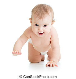 pretty crawling baby girl isolated on white background
