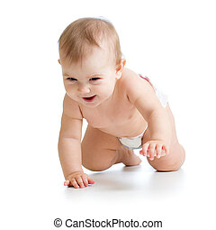 pretty crawling baby isolated on white background