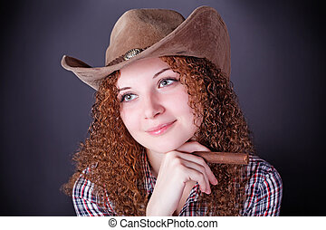 pretty curly red-haired girl with a cigar