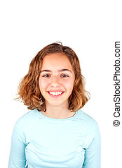 Pretty cute laughing teenager girl with curly hair isolated