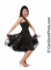 Pretty dancing woman - Beautiful full body of brunette Asian...