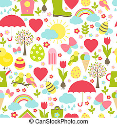 Pretty delicate seamless spring pattern in a busy design with iconic springtime favourites depicting the weather Easter Valentine flowers insects birds icecream suitable for fabric and wallpaper