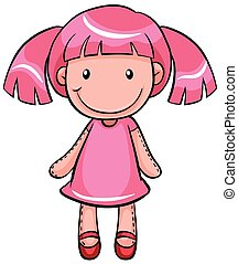 Close up pink pretty doll of a girl