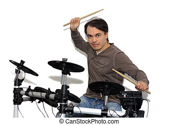 Pretty drummer playing electronic drums. isolated on a white background