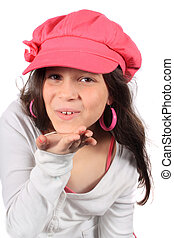 Pretty eight year old girl blowing kiss - Pretty eight year...