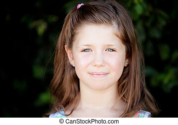 Pretty eight year old girl in the park - Pretty eight year...