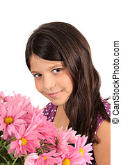 Pretty eight year old girl with flowers - Pretty eight year...
