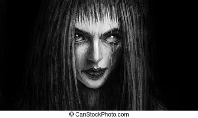 Pretty face of scarred girl appears from darkness and smiles...