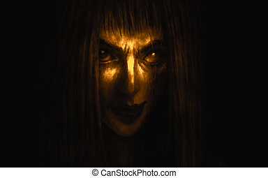 Pretty face of scarred girl appears from darkness. - Pretty ...