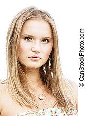 Pretty fair-haired girl closeup portrait selective focus on ...