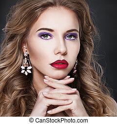 Pretty Fashion Model Woman with Earrings