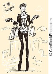 Pretty fashionable woman - Pretty woman with shopping bags,...