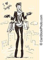Pretty fashionable woman - Pretty woman with shopping bags,...