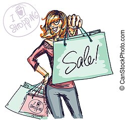 Pretty fashionable woman - Pretty woman with shopping bags, ...